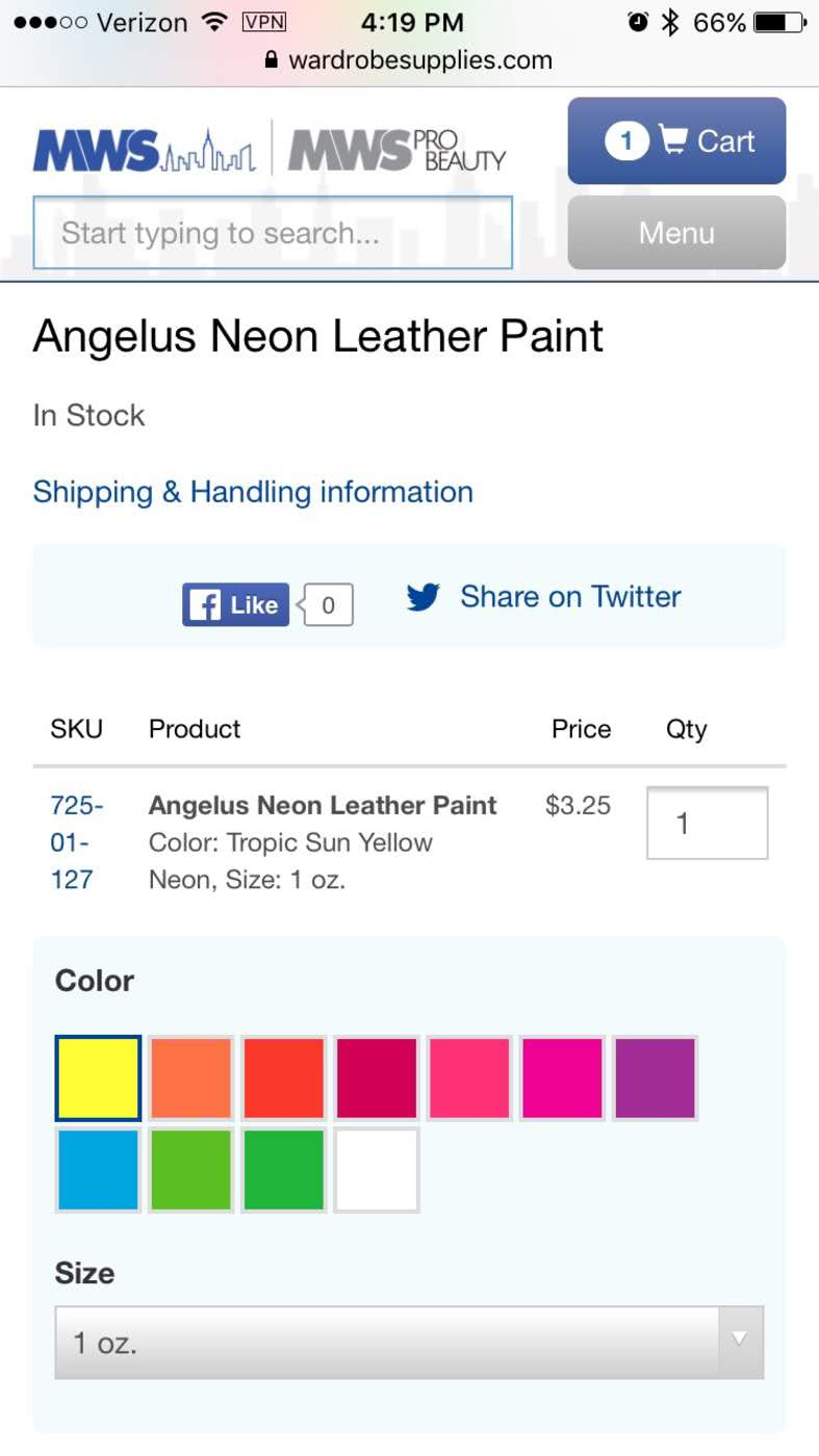 angelus neon leather paint wardrobe supplies