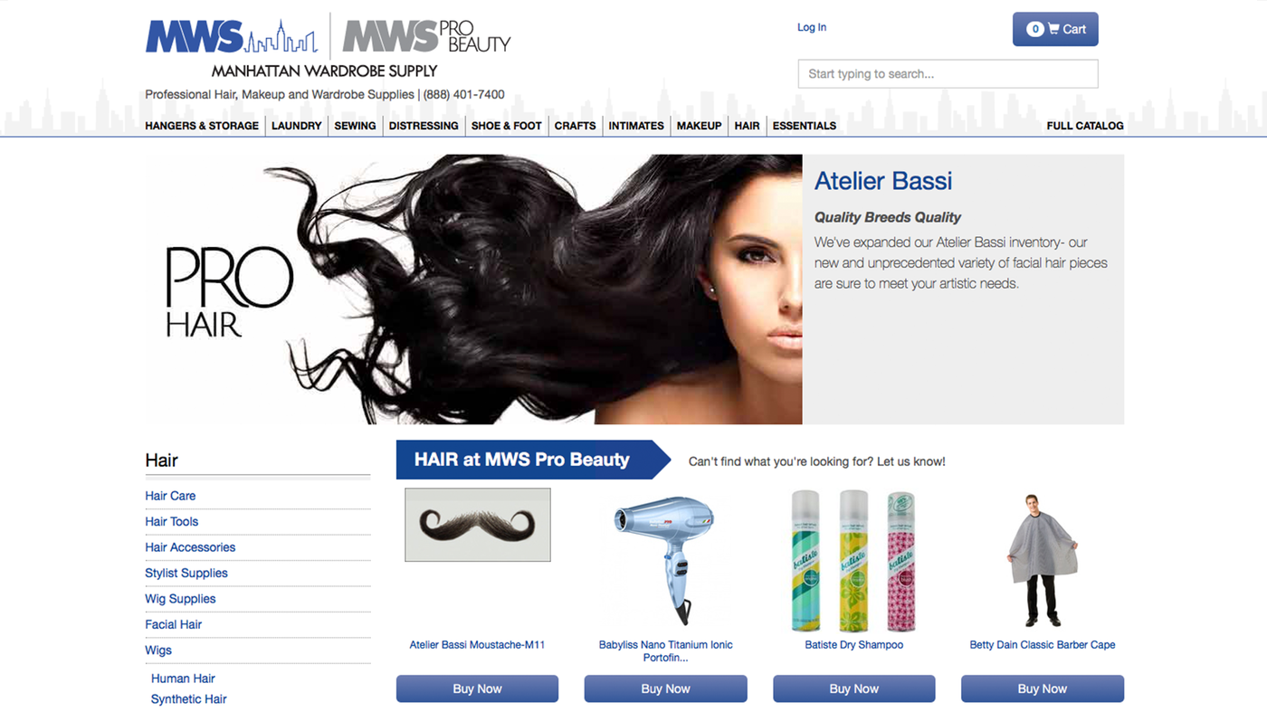 Manhattan Wardrobe Supply hair category page