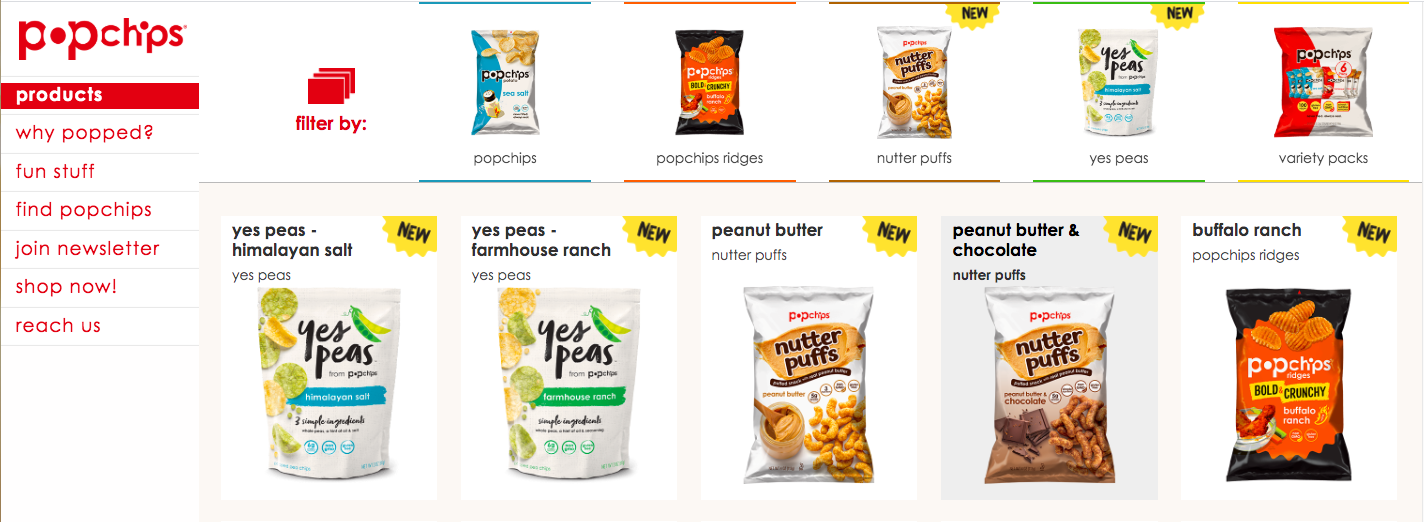 Popchips' product page